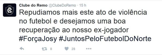 Remo usou a rede social para manifestar apoio a Josy (Foto: Reprodução/Twitter oficial do Remo)