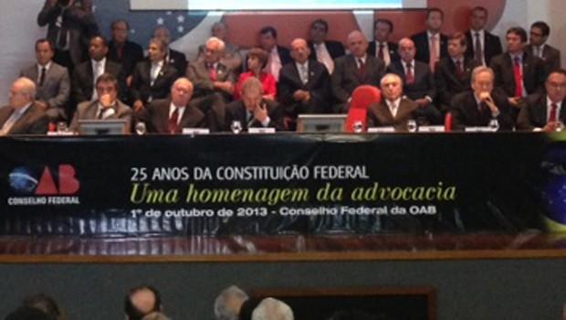 Lula, o vice Michel Temer e autoridades em ato comemorativo dos 25 anos da Constituinte (Foto: Nathalia Passarinho / G1)