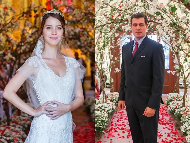 Nathalia Dill e Thiago Lacerda posam no intervalo da cena com o casamento de Laura e Marcos (Foto: Artur Meninea / Gshow)