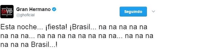 Tweet Gran Hermano (Foto: reprodução internet)