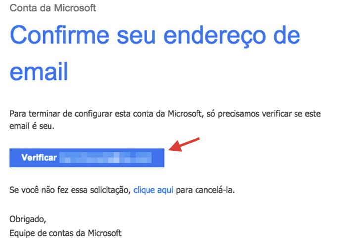 Iniciando a verificação da nova conta no e-mail utilizado para cadastro dos serviços Microsoft (Foto: Reprodução/Marvin Costa)