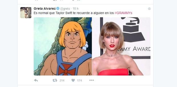 Novo visual de Taylor Swift no Grammy vira meme (Foto: Reprodução/Twitter)