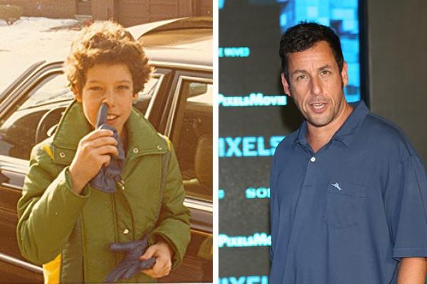 Adam Sandler quando criança e hoje em dia (Foto: Twitter / Getty Images)