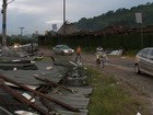 Depósito do kartódromo de Joinville é destelhado por vento