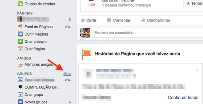 Acessando a página de grupos do Facebook (Foto: Reprodução/Marvin Costa)