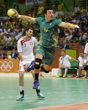 Tchê, Polônia x Brasil, handebol, Olimpíada, Rio 2016 (Foto: AP)