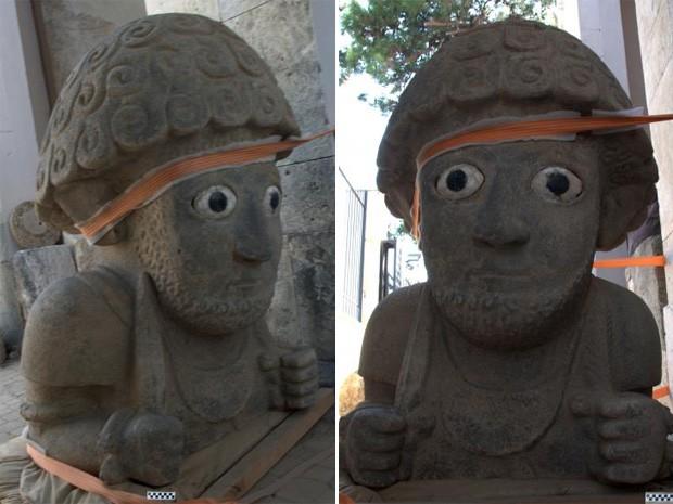 Escultura encontrada na Turquia mostra figura humana com barba e cabelos encaracolados (Foto: Jennifer Jackson)