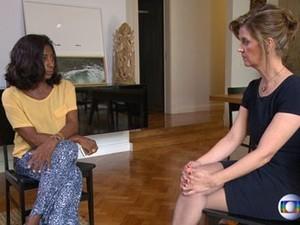 Glória Maria entrevista a ex-gerente da Petrobras Venina Velosa da Fonseca; entrevista foi ao ar neste domingo (21) (Foto: Reprodução/ TV Globo)