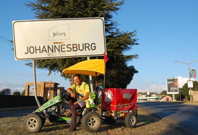 Zé do Pedal em Johannesburgo áfrica do sul (Foto: Divulgação)