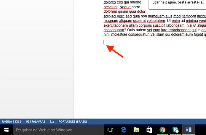 Definindo o local onde deseja adicionar o número de palavras do texto com o Microsoft Word (Foto: Reprodução/Marvin Costa)