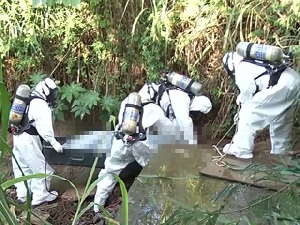 Corpo de travesti foi encontrado em mata às margens da BR-060, em Rio Verde, Goiás (Foto: Reprodução/TV Anhanguera)