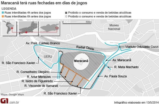 maracanã, bebida alcoólica, cerveja, proibição, ruas fechadas, vias interditadas (Foto: Editoria de Arte/G1)