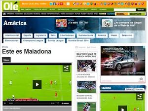 Olé destaca golaço de Arthur Maia e chama jogador de 'Maiadona' (Foto: Reprodução)