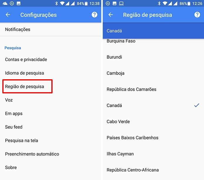 Como Mudar A Regiao De Pesquisa Do App Do Google No Android
