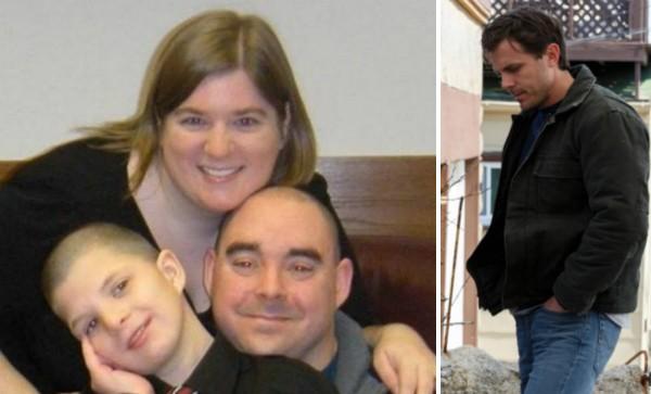 Ernest e Heather Franklin com o filho de 16 anos e o ator Casey Affleck em Manchester à Beira-Mar (Foto: Reprodução)