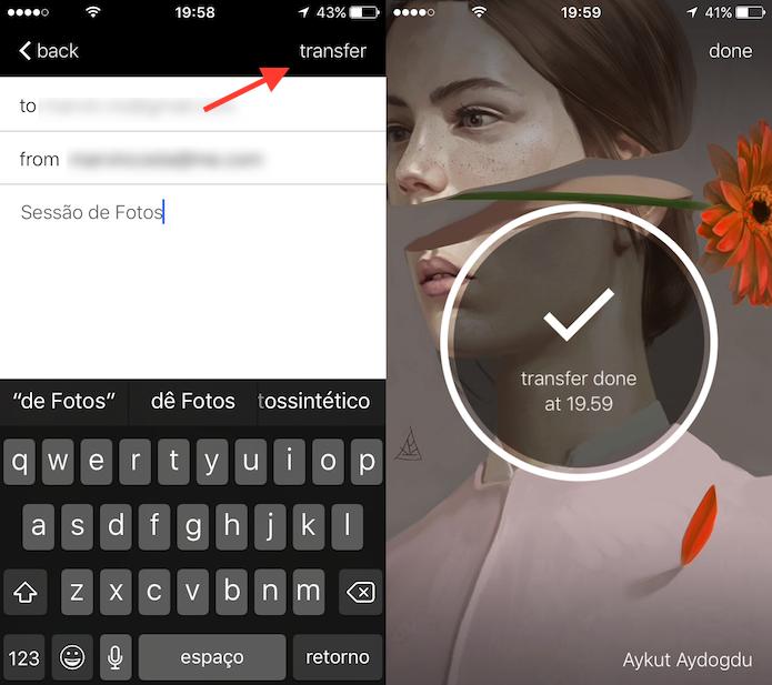 Opção para encaminhar várias fotos do celular para um amigo com o WeTransfer (Foto: Reprodução/Marvin Costa)