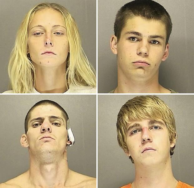 Kayla Selph, Alex Safford, James Watson e Joseph Jones (da esquerda para direita) foram presos após assalto fustrado (Foto: Divulgação/Volusia County Sheriff's Office)