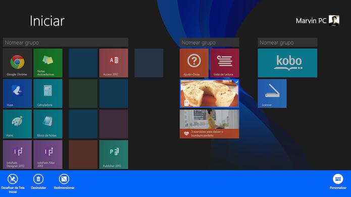 O usuário pode desfixar aplicativos da tela inicial do Windows 8.1 (Foto: Reprodução/Marvin Costa)