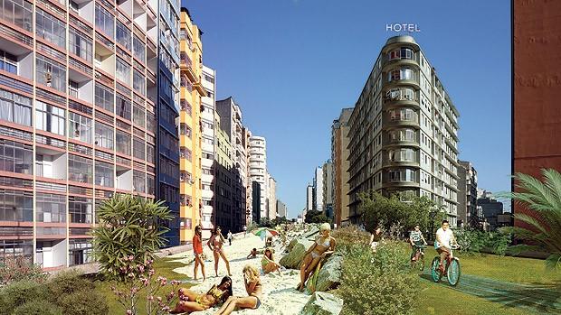 Futuro | A ilustração do arquiteto Ciro Miguel retrata como seria o parque idealizado pela associação no Elevado Costa e Silva  (Foto:  )
