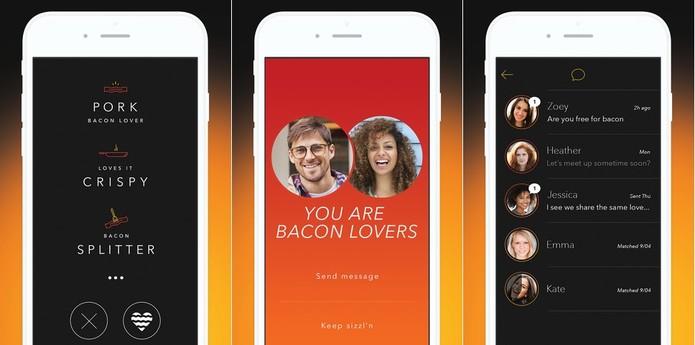 Tinder para conhecer gente quem compartilha a paixão por bacon (Foto: Divulgação/Sizzl)