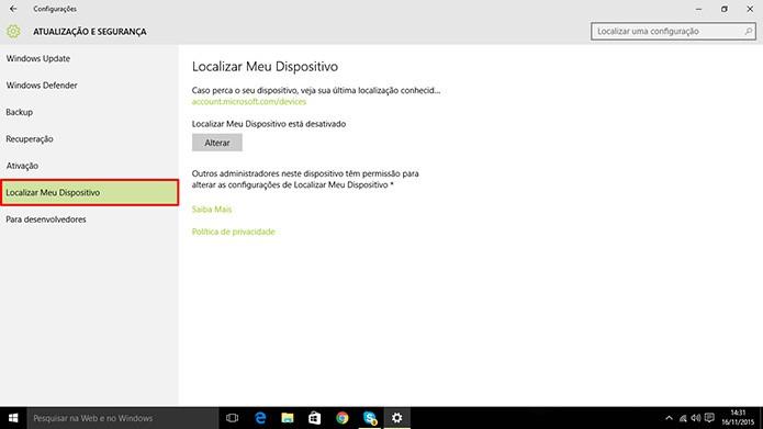 Windows 10 ganhou rastreamento de dispositivo após Update 1 (Foto: Reprodução/Elson de Souza)