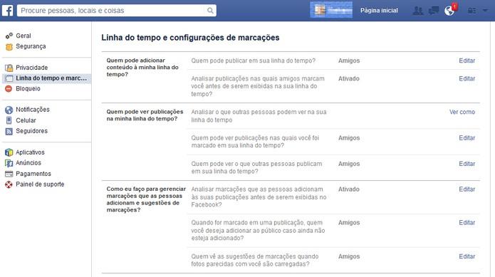 """Acesse as configurações de """"marcação"""" no Facebook (Foto: Reprodução/Barbara Mannara)"""