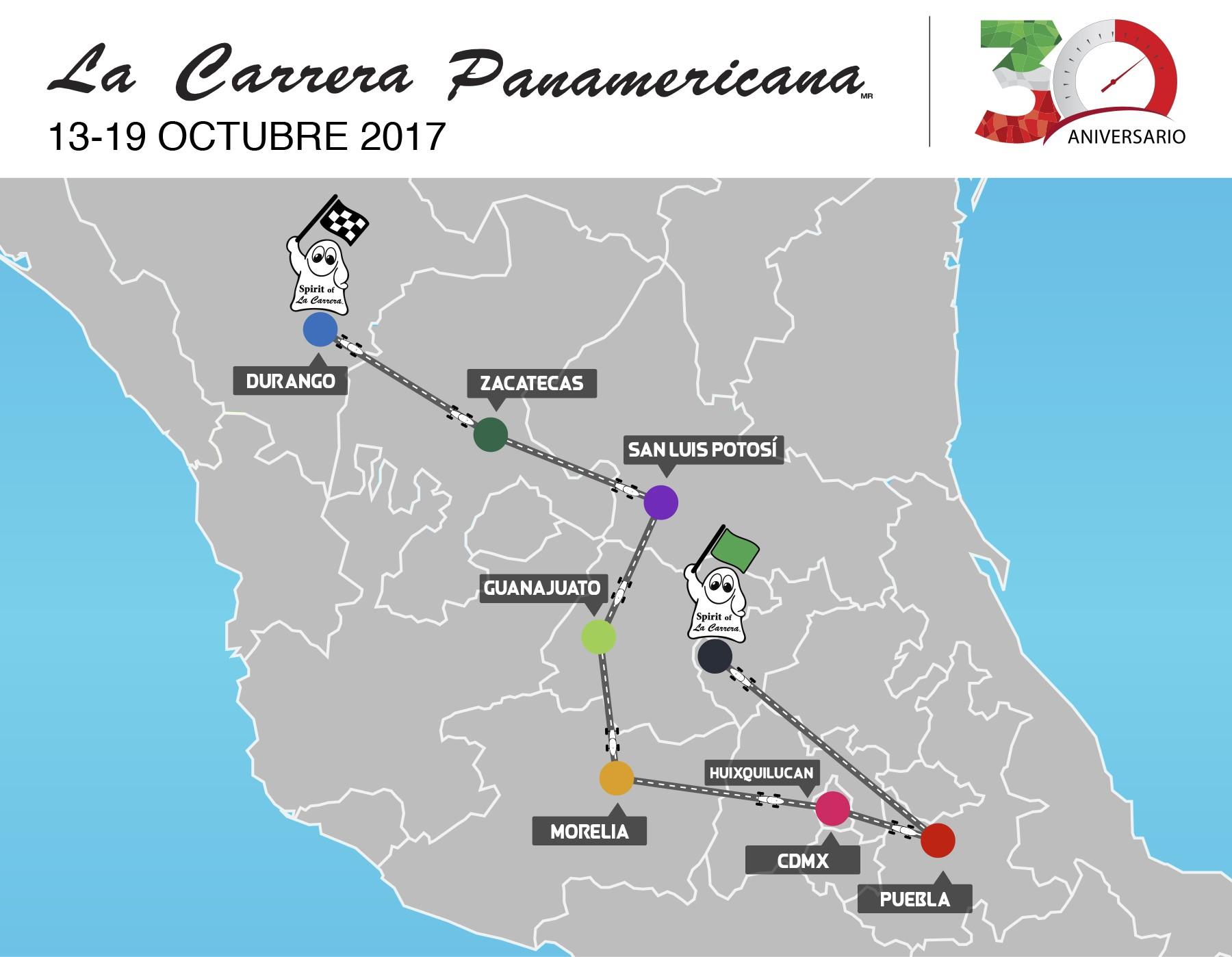 La Carrera Panamericana e sua Rota em 2017 para a edição XXX deste emblemática prova no México atraindo o mundo automobilístico e realizada de 13 a 19 de outubro deste ano. (Foto: Divulgação)