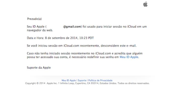 Mensagem de suporte da Apple para alertas no iCloud (Foto: Reprodução/Apple)