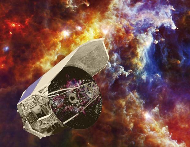 Concepção artística mostra telescópio Herschel, lançado pelo ESA em 2009 (Foto: Divulgação/C. Carreau/ESA)
