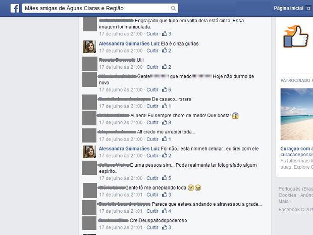 Comentários sobre 'fantasma' em foto de professora de Brasília (Foto: Facebook/Reprodução)