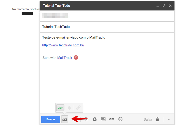 Ativando ou desativando o rastreamento do MailTrack (Foto: Reprodução/Helito Bijora)