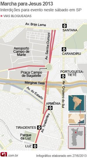 Mapa interdições Marcha para Jesus 2013 (Foto: Arte/G1)