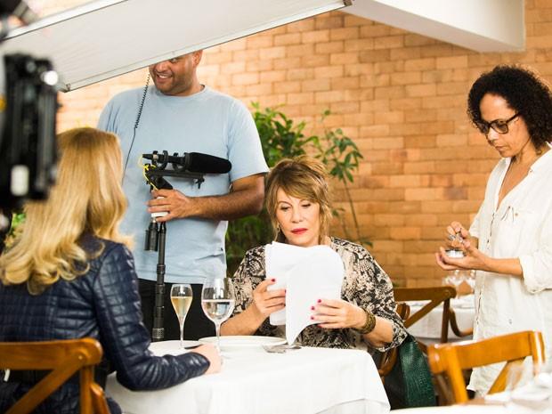 Cláudia Abreu e Renata Sorrah gravam como Pamela e Gláucia (Foto: João Miguel Júnior/TV Globo)