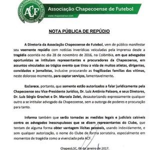Nota repúdio Chapecoense (Foto: Reprodução)