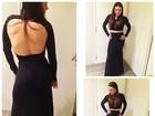 Com vestido preto, Simony mostra as costas em foto na web