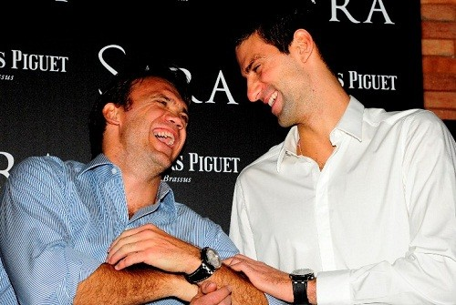 Foto (Foto: Pet e Djokovic no coquetel oferecido pela Audemars Piguet)