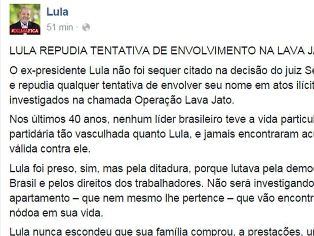 * Lula protesta no Facebook contra 'tentativa' de envolvê-lo com ilícitos.