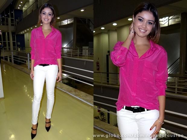 Sophie Charlotte esbajna estilo com seu look especial para o Domingão (Foto: Domingão do Faustão / TV Globo)