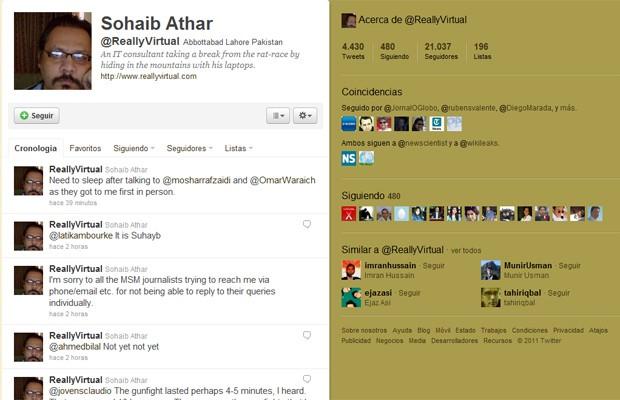 Reprodução do perfil de Sohaib Athar, que tuitou sobre o ataque que matou Bin Laden sem saber (Foto: Reprodução)