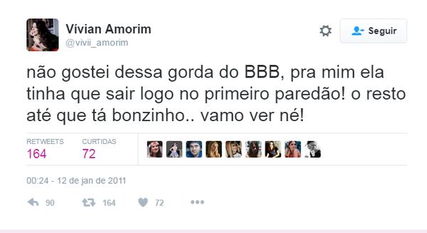 Amiga de Vivian, do 'BBB 17' a defende sobre 'gordofobia': 'Publicação infeliz'