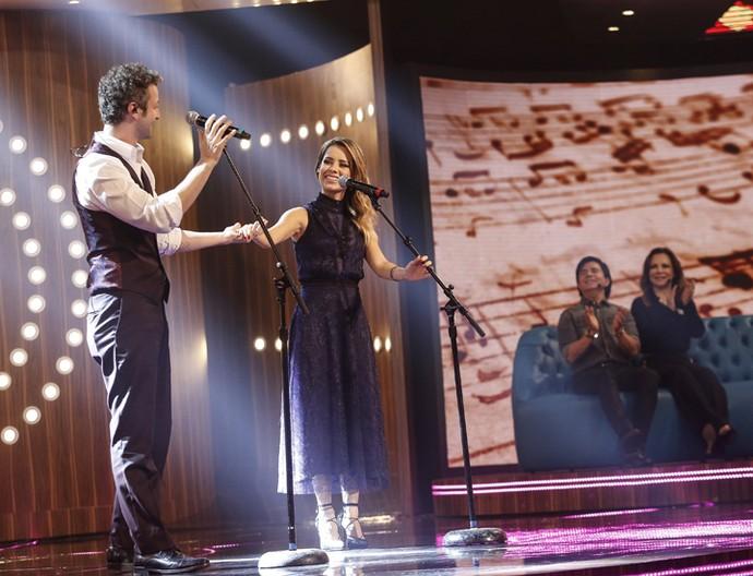 Sandy e Lucas Lima são aplaudidos por Xororó e Noely (Foto: Raphael Dias / Gshow)