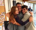 Marina Ruy Barbosa postou uma foto com o diretor Luiz Henrique Rios e Felipe Simas: 'Já em clima de saudade' | Reprodução