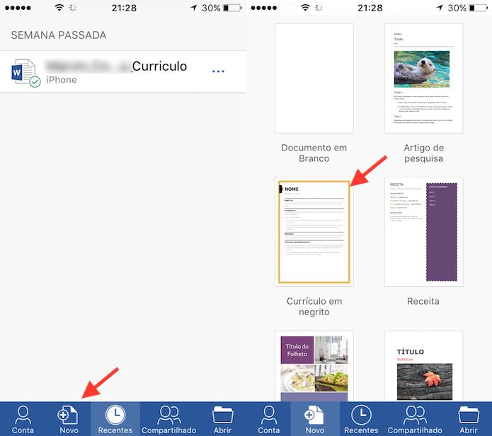 Ação para criar um documento com o Word para iPhone (Foto: Reprodução/Marvin Costa)