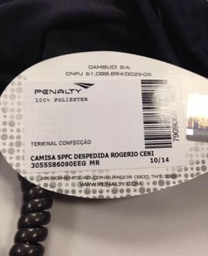 Etiqueta Penalty camisa Rogério Ceni (Foto: Divulgação)
