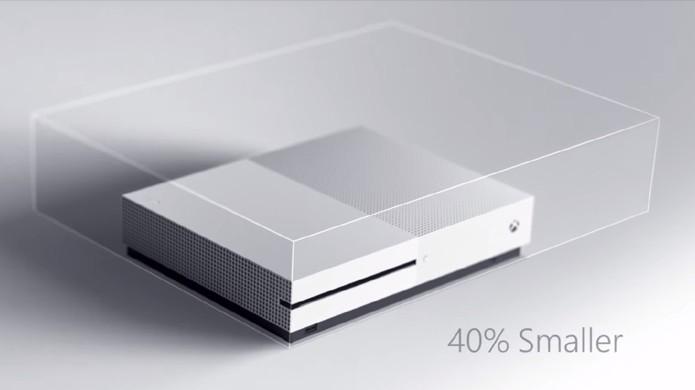 Imagem compara o tamanho do Xbox One S em relação ao Xbox One na apresentação da Microsoft na E3 2016 (Foto: Reprodução/Digital Spy)