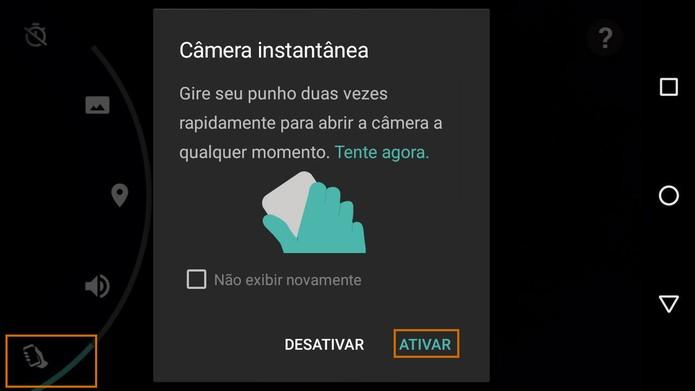 Ative a câmera instantânea para acessar de forma rápida no Moto G 3 (Foto: Reprodução/Barbara Mannara)