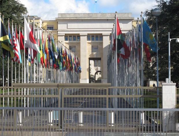 Sede da ONU em Genebra, perto do estádio do jogo do Brasil (Foto: Márcio Iannacca)