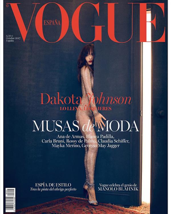 A atriz Dakota Johnson no ensaio para a revista Vogue espanhola (Foto: Instagram)