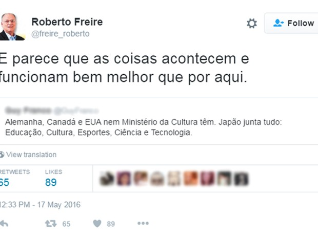 Roberto Freire elogia países que não tem Ministério da Cultura (Foto: Reprodução)