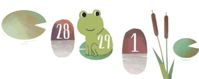 Primeira ideia de Olivia Huynh para o Doodle do Leap Day; Ano Bissexto com sapos (Foto: Divulgação/Google)